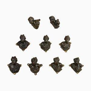 Bronze Handles, Italy, 17th Century, Set of 9