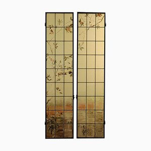 Finestre in ferro liberty e vetro, Italia, XX secolo, set di 2
