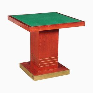 Tavolo in legno tinto, ottone e stoffa, anni '80