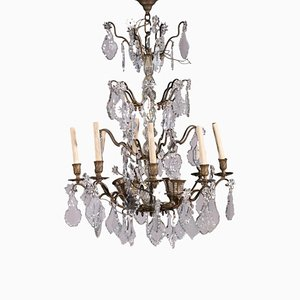 12 Light Spots Chandelier in Bronze and Glass, Italy, 19th Century