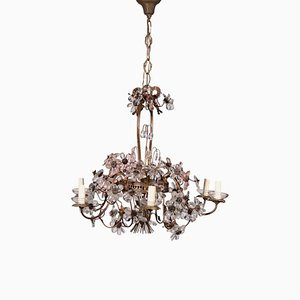 6-Arm Chandelier in Brass and Glass