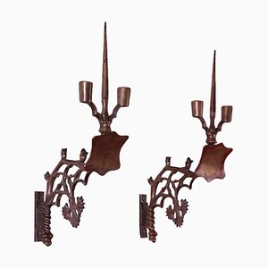 Applique in stile neogotico in bronzo, Italia, XIX secolo, set di 2