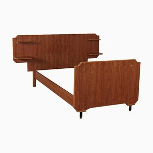 Single Bed Structure with Mahogany Veneer, Italy, 1960s