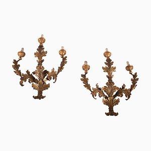Lampada da parete in ferro e vetro, Italia, XVIII secolo, set di 2
