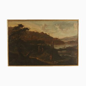 Paisaje con figuras, óleo sobre lienzo, escuela italiana, siglo XVIII