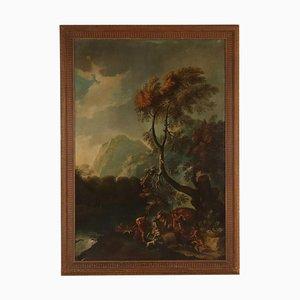 Paisaje grande de caza del jabalí, óleo sobre lienzo, siglo XVIII