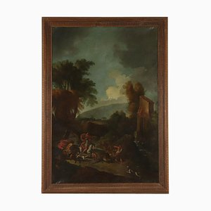 Large Landscape with Hunting Scene, Oil on Canvas, 18th Century