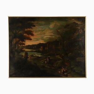 Paisaje con edificios y figuras, óleo sobre lienzo, siglo XVIII