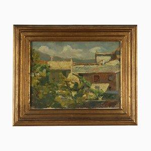 Paesaggio di Luigi Bocca, scorcio del villaggio, XX secolo