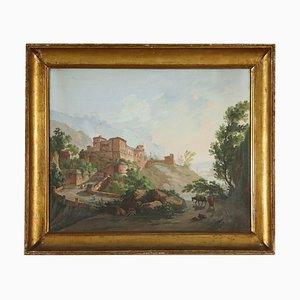 Dipinto Paesaggio con castello e figure, XVIII secolo