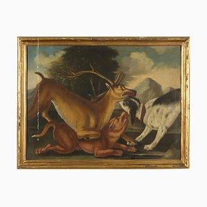 Peinture Chasse au Cerf, Huile sur Toile, 18ème Siècle