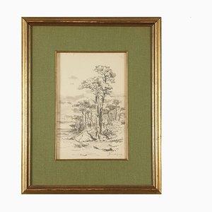 Acquarello di Giuseppe Puricelli, Paesaggio Guerra, XIX secolo