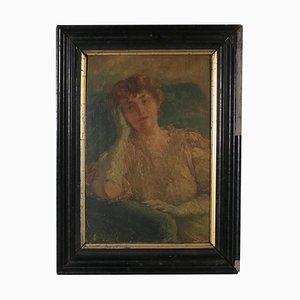 Portrait de Femme, 20ème Siècle, Peinture à l'Huile sur Toile