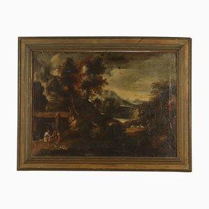 Paisaje con figuras, pintura al óleo sobre lienzo, siglo XVII