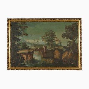 Paisaje con pintura de río y figuras, siglo XVIII