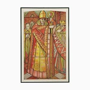 Schizzo per la finestra in vetro di Aligi Sassu St. Ambrose XX secolo (tela L: 98,00 cm, H: 160,00 Cm
