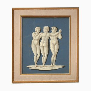 Neoclassical Decorative Element, The Three Graces Painting, 18th Century