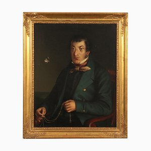 Male Portrait, Oil on Canvas, Lombard School, 19th Century