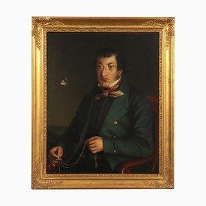 Ritratto maschile, olio su tela, scuola lombarda, XIX secolo