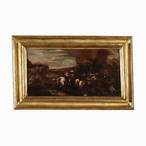 Dipinto ad olio raffigurante scene di guerra, fine XVII secolo