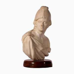 Male Bust with Parade Helmet in Carrara Marble, Italy, 17th Century