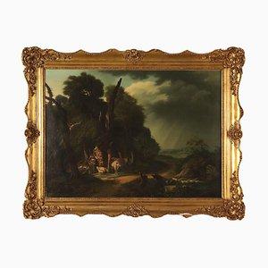 Paesaggio con pastori e mandrie, olio su tela, 1842