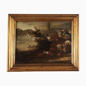 Battle Scene, Oil on Canvas, Neapolitan School, Italy, 17th Century
