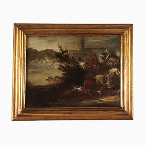 Scena della battaglia, olio su tela, scuola napoletana, Italia, XVII secolo