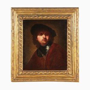 Autoritratto di giovane Rembrandt, olio su tela, XVII secolo