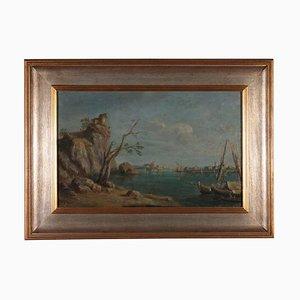 Paesaggio marino, olio su tela, XIX secolo