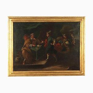 Genere con scena, XVIII secolo, olio su tela