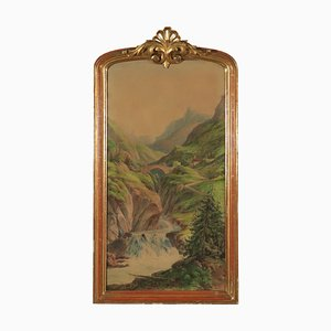 Mountain Glimpse, Watercolor on Paper, 19th Century