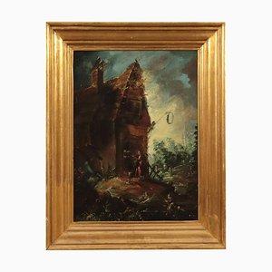 Paisaje con edificio y figuras, óleo abordo, escuela flamenca década de 1700