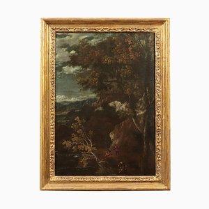 Landschaft mit Figur, Öl auf Leinwand, Zentrum von Italien, 17. Jahrhundert