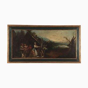 Paesaggio con figure femminili, olio su tela, scuola piemontese, XVIII secolo