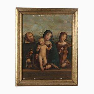 Vergine con bambino e santi, olio su tavola, XIX secolo