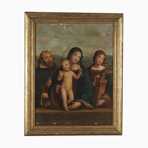 Virgin Mary with Child and Saints, Oil on Board, 19th Century