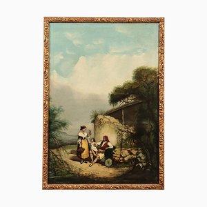 Paesaggio con figure, olio su tela, XIX secolo