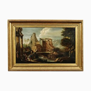 Center-Italian School, Landscape with Architectures and Figures, 1700