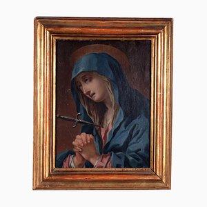 Virgin Mourning Francesco De Mura, Oil on Copper, 18th Century