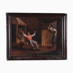 Tavern's Scene, Painting Under Glass, 18th Century