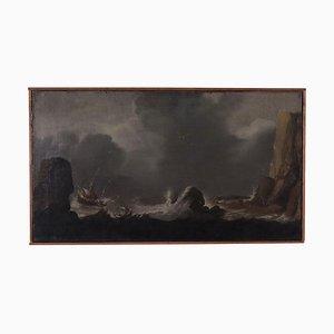 Mare tempestoso, olio su tela, XVIII secolo