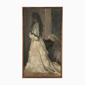 Ritratto di donna, olio su tela, fine XIX secolo