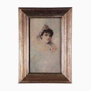 Portrait einer jungen Frau, Öl an Bord, 20. Jahrhundert