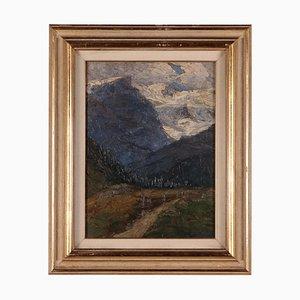 Carlo Bazzi, Paesaggio, Olio su tavola, Italia, XX secolo