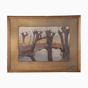 Pietro Leidi, Landscape, Oil on Canvas, 20th Century