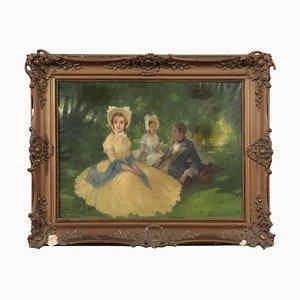 Figure in giardino, olio su tela, XIX secolo
