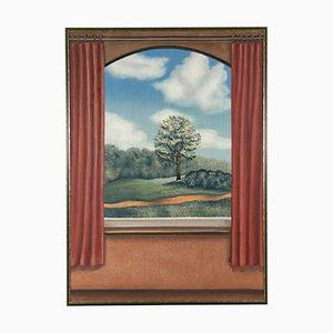 Trompe L'oeil con paisaje, óleo sobre lienzo