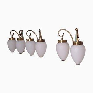 Applique in ottone e vetro opalino, anni '50, set di 3