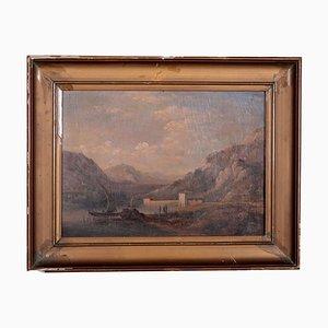 Paesaggio fluviale, olio su cartone, fine XIX secolo